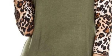 Leopard Sleeves Raglan Top