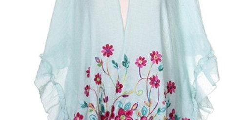 Floral Embroidery Ruana with ruffles