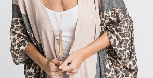 ANIMAL LEOPARD PRINT AND SOLID CONTRAST DRAPED CARDIGAN