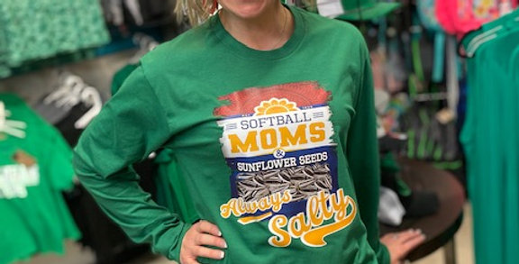 """Baseball/Softball Mom; Sunflower Seeds SALTY"" Long Sleeve Core Cotton Tee"