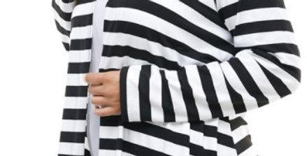 White and Black Stripe Cardigan-Plus Size