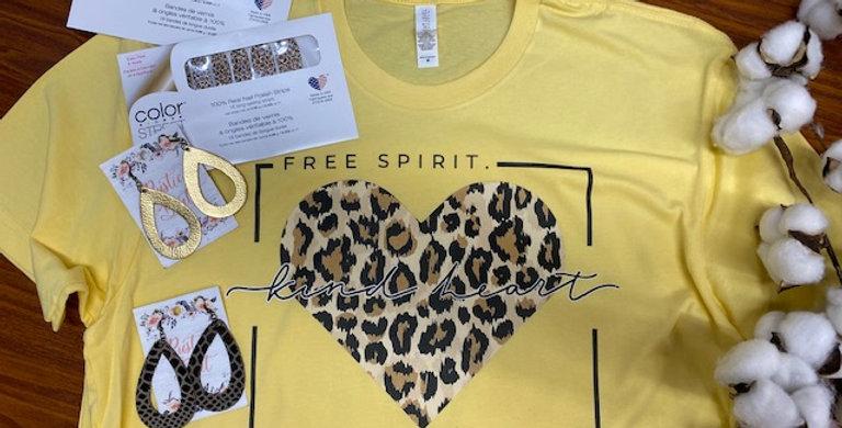 """Free Spirit Kind Heart Brave Soul"" Tee"