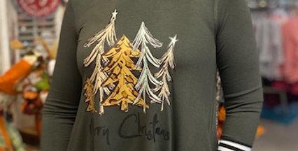 "'Christmas Trees"" Long Sleeve Top"