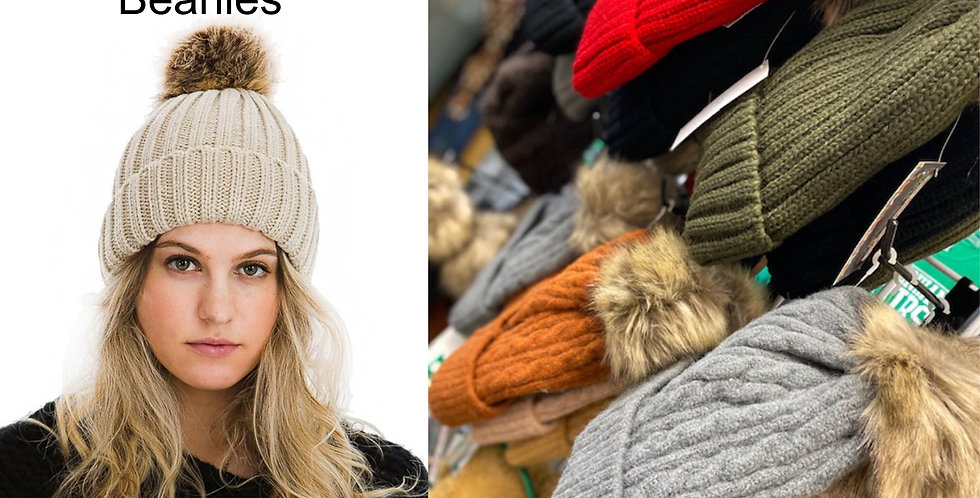 Thick Cable Knit Stretchable Winter Beanie with Faux Fur Pom Pom