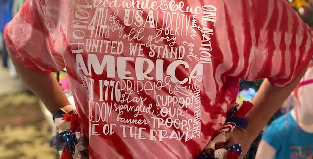 """America Subway"" Tiger Stripe Tie-Dye Tee"