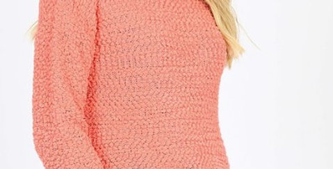 LONG SLEEVE ROUND NECK POPCORN SWEATER SIDE SLIT