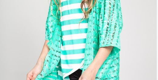 Kids' Above Knee Length Lace Cardigan