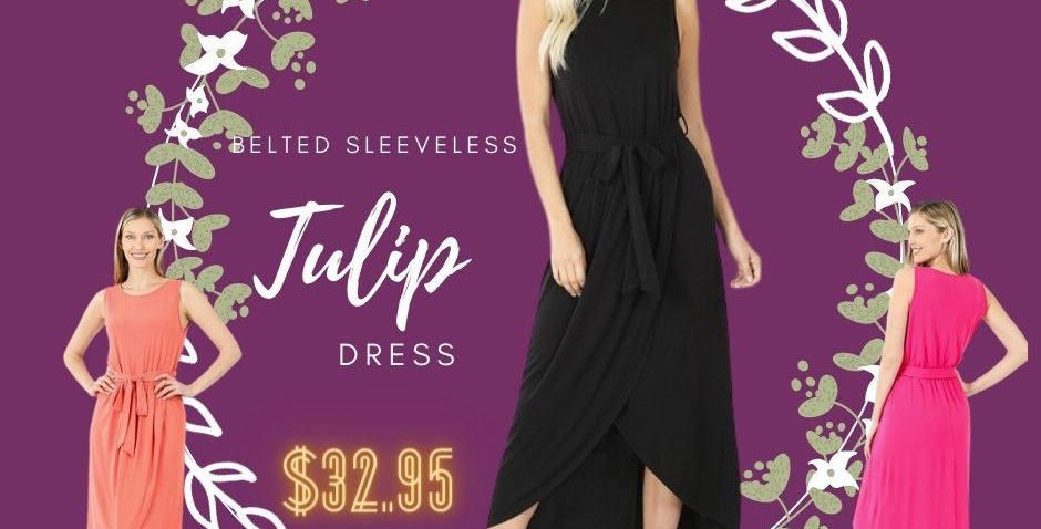 BELTED SLEEVELESS TULIP DRESS