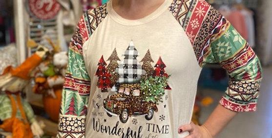 """It's the Most Wonderful Time"" Print sleeve Raglan Tee"