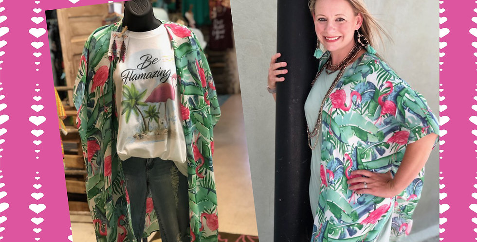 Flamingo Palm Leaf Printed Light Weight Kimono