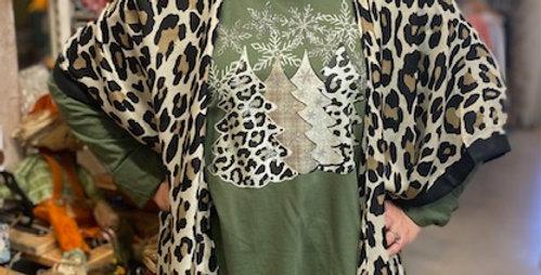 """""""Leopard Christmas Trees"""" LS Tshirt"""