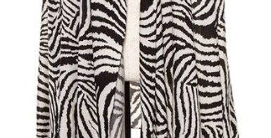 Animal Stripe Pattern Open Front Vest