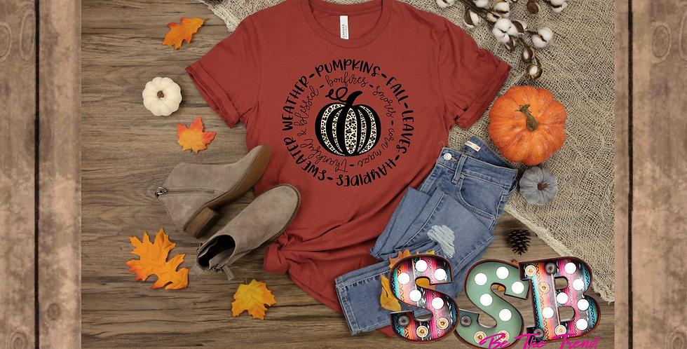Leopard Pumpkin Fall Tee