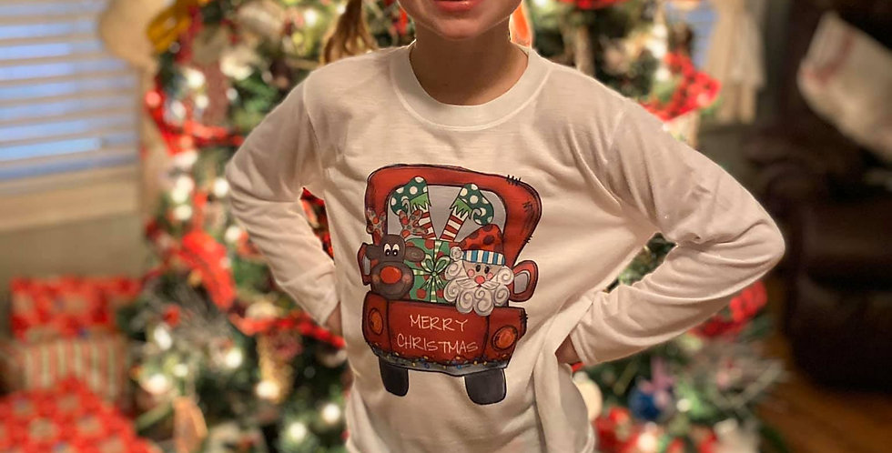 """Merry Christmas Truck"" LS tshirt"