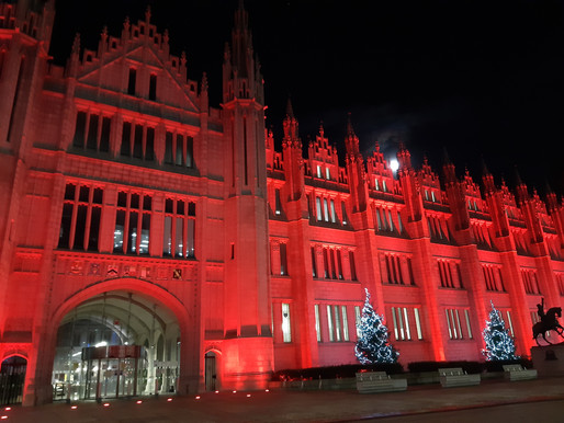 Marischal College lit up in red for World AIDS Day