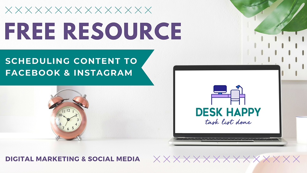 """Alarm Clock & Laptop pictured with text banner. Text reads """"Free Resource. Scheduling Content to Facebook & Instagram"""""""