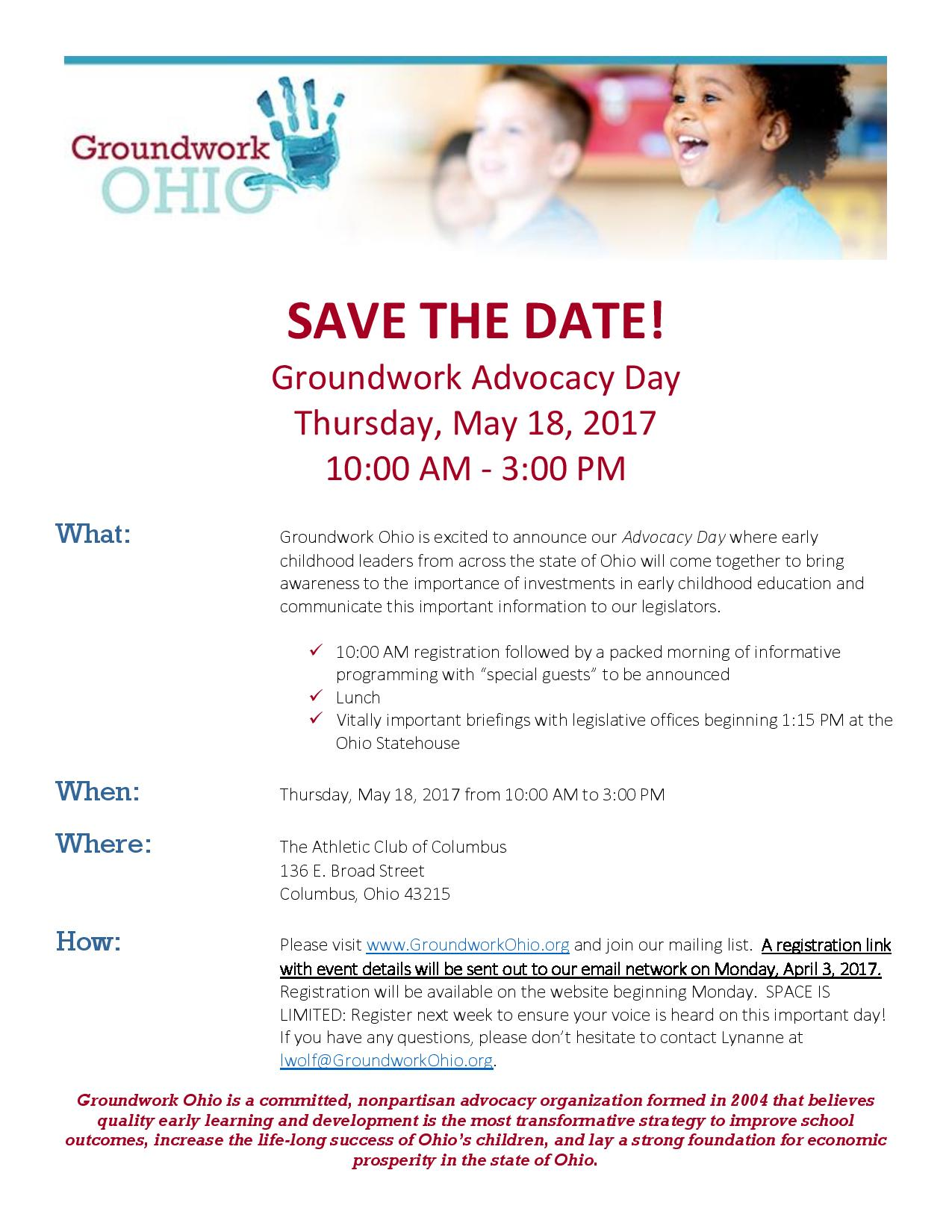 Save The Date Advocacy Day 51817 Groundwork Ohio Columbus Oh