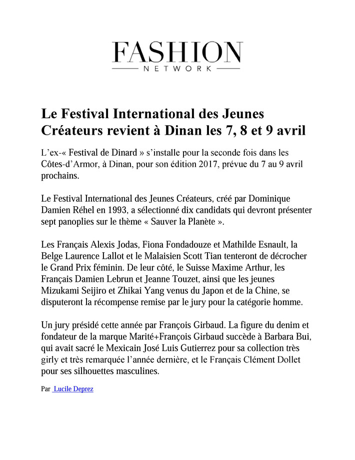 #Presse : FASHION NETWORK
