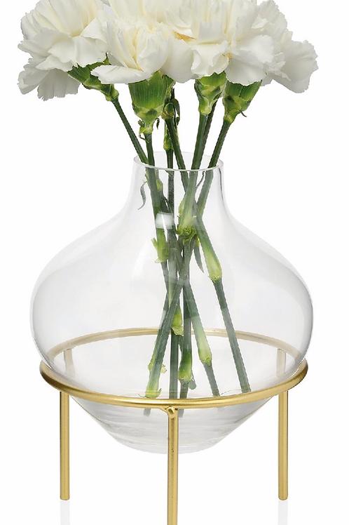 Florero de vidrio y latón