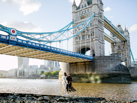 London couple photography - Tower Bridge and The Shard