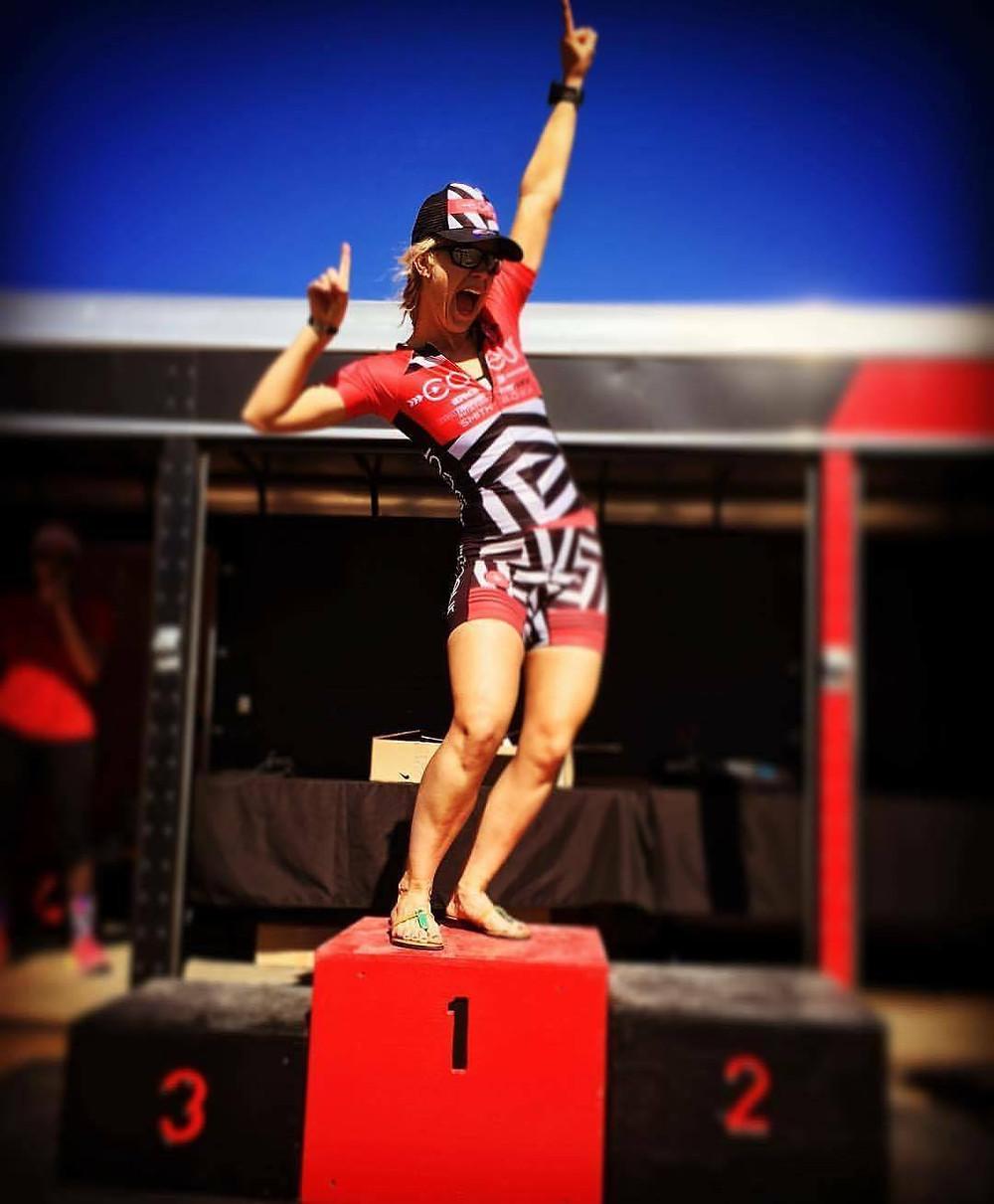 Feeling like I won the whole season at the Las Vegas Triathlon.