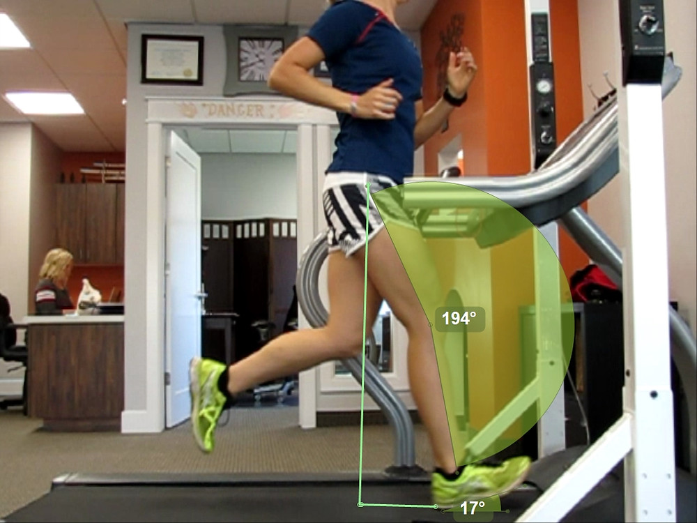 Checking out my heel strike during running form analysis