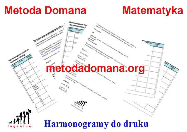 Harmonogramy matematyki Metodą Domana