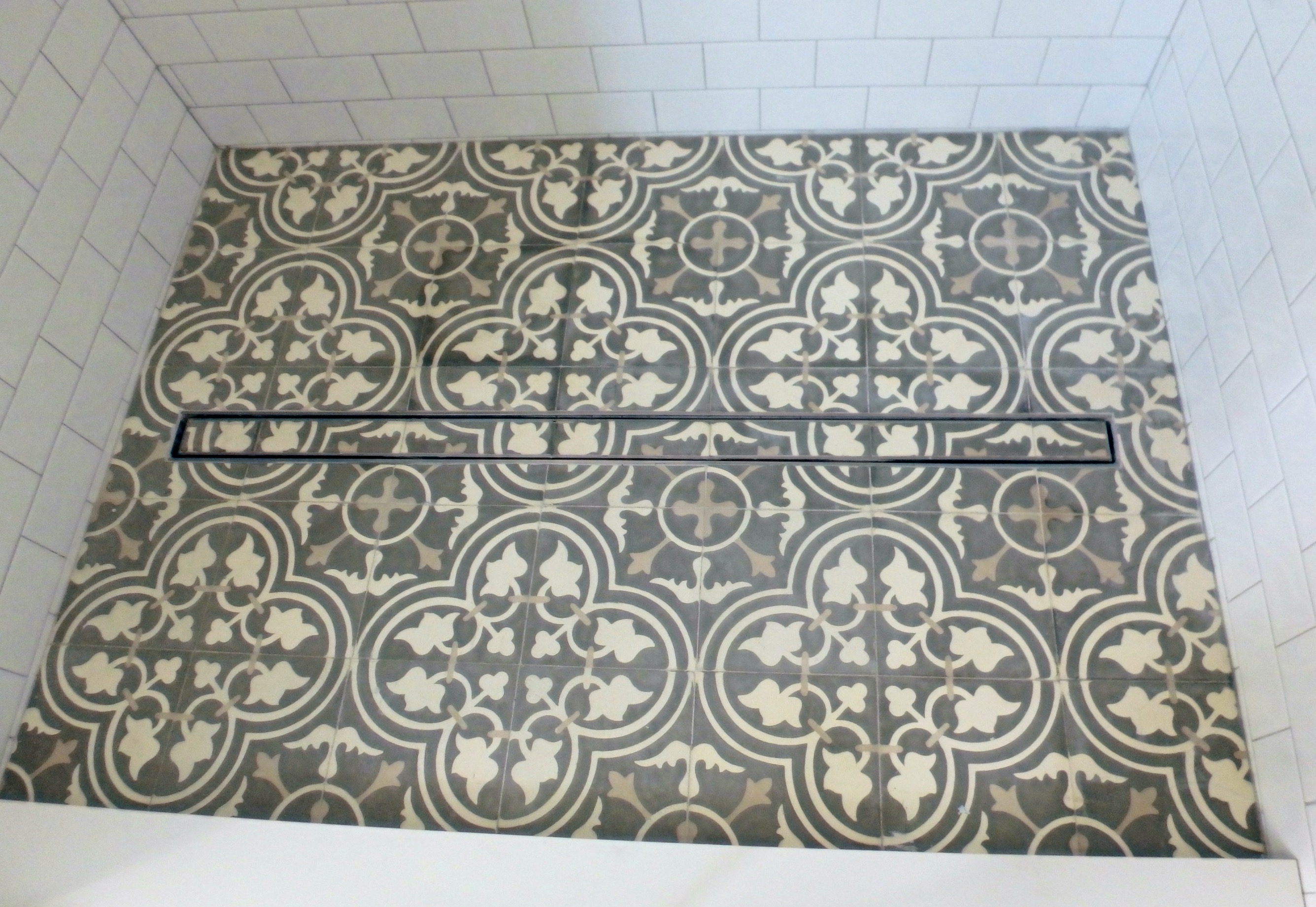 Linear Shower Drain with Custom Tile