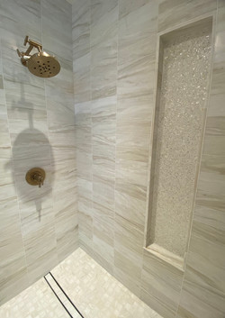 Luxury Shower with Brass Accents
