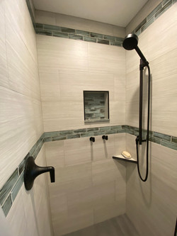 Shower with Custom Tiled Inset