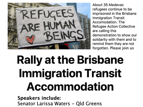 Free the Medevac refugees rally at Brisbane Immigration Transit Accommodation