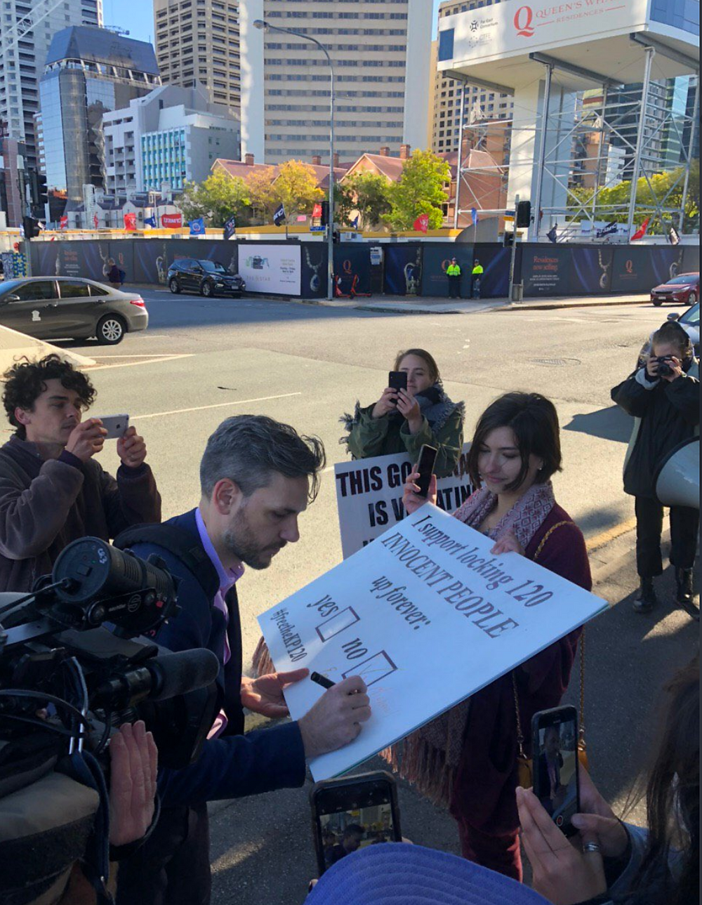 """14 July 2020 Supporter with Refugee Solidarity Brisbane Meanjin """"Thanks @mcberkman for standing up for our friends in detention and standing with our community""""."""