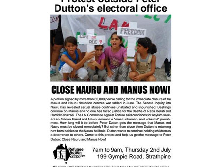 Protest outside Peter Dutton's electrol office