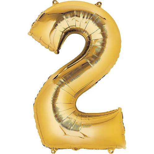 Balon cifra 2 cu heliu (categoria baloane cifre aurii)