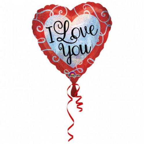 """Balon inima cu heliu """"I love you"""""""