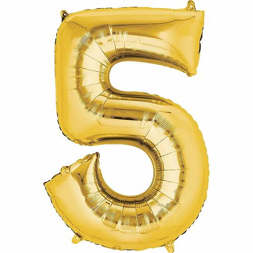 Balon cifra 5 cu heliu (categoria baloane cifre aurii)