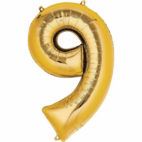 Balon cifra 9 cu heliu (categoria baloane cifre aurii)