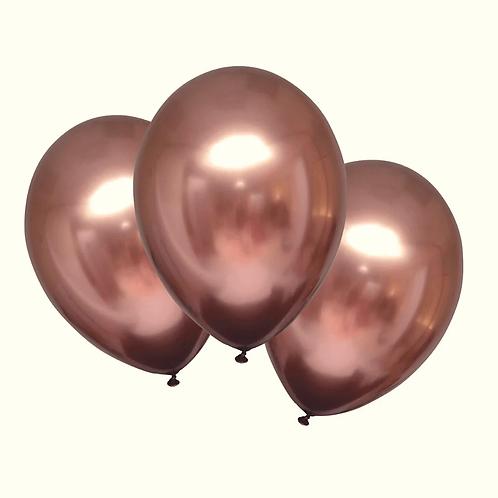 Baloane cromate roz gold cu heliu (chrome helium rose gold balloons)