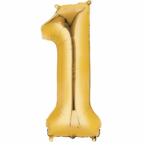 Balon cifra 1 cu heliu (categoria baloane cifre aurii)