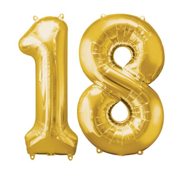 Baloane cu heliu cifre 18 aurii, livrare oriunde in Bucuresti si Ilfov.