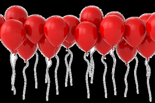 50 de baloane cu heliu, rosii mari, rotunde, frumoase