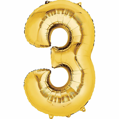 Balon cifra 3 cu heliu (categoria baloane cifre aurii)
