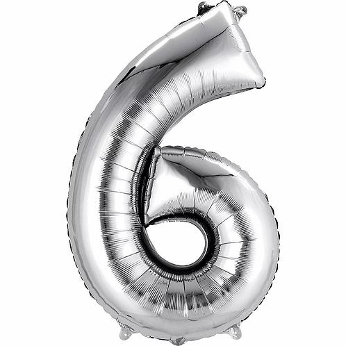 Balon folie cifra 6 argintiu cu heliu (categoria baloane folie cifre argintii)