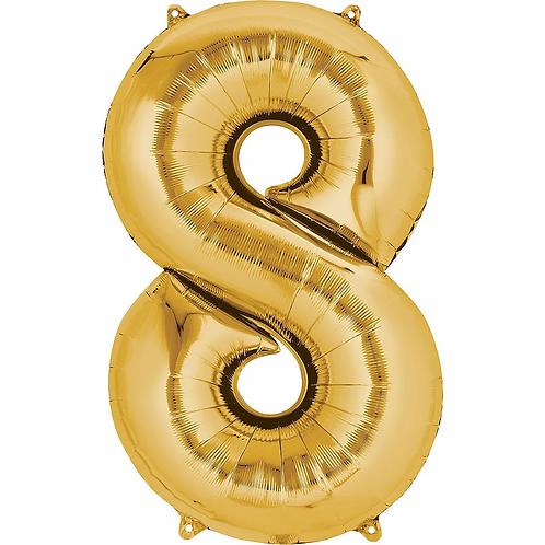 Balon cifra 8 cu heliu (categoria baloane cifre aurii)