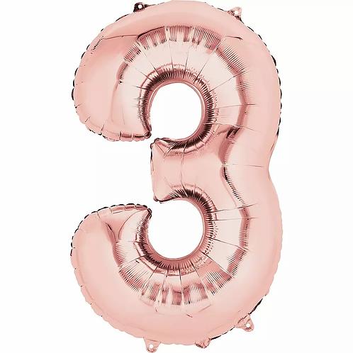 Balon folie cifra 3 rose gold cu heliu (baloane folie cifre cu heliu roz auriu)