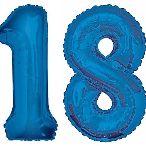 Baloane folie cu heliu cifrele 18 albastre