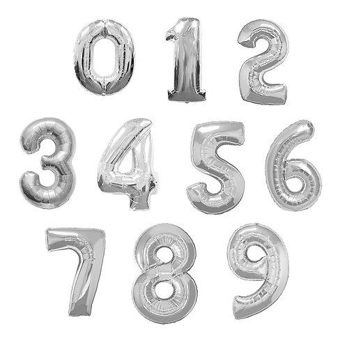 Baloane cu heliu cifre argintii de 86cm