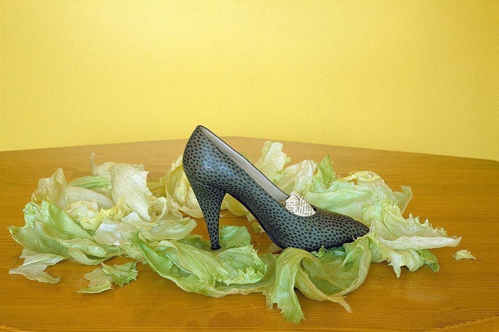 Glamorous shoe,Lettuce,Tabletop