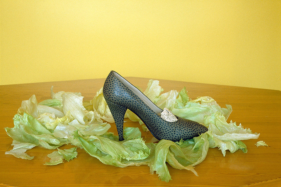 Lettuce leaves,Elegant shoe,Glamorou shoe,TEA FOR TWO,Tabletop photography