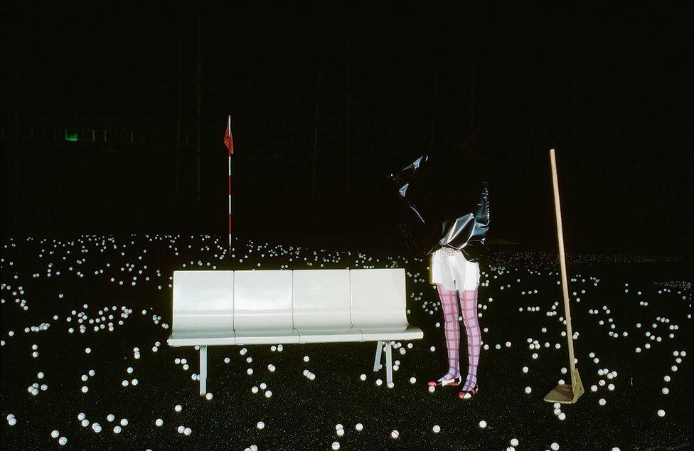 Glolf practise range in Shinjuku,Golf balls,Black plastic bag